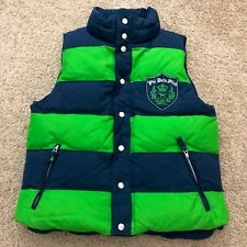 Victorias Secret PINK Down Puffer Vest XS/Small Reversible Green Navy Striped