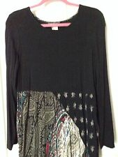Carole Little MIDI DRESS 6 (OVERSIZED 4).black, paisley ,Art-to-Wear,NWOT