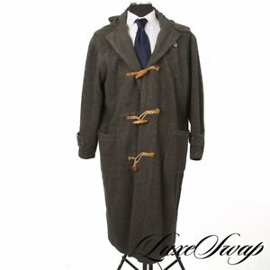 #1 MENSWEAR Vintage Polo Ralph Lauren Grey Unlined Hooded Toggle Duffle Coat S