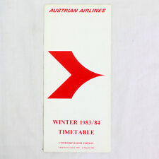Austriaco Airlines Della Compagnia Aerea Timetable (tabella Orari) Inverno 1983/