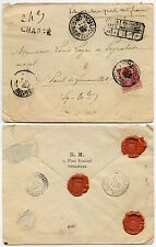 France 1898 charge enveloppe 50c allégorie unique l'affranchissement + joints H.M Toulouse
