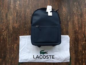 Mens Lacoste Navy Rucksack Bag Smart New Calfs Leather