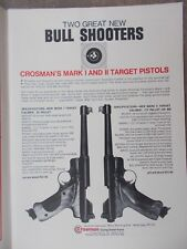 Vin.1966 ad #2 Crosman's Mark I and II target pistols .22 pellet Bull Shooters