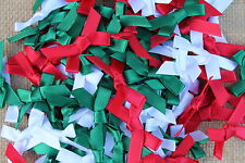 30 7mm Satin Ribbon Bows  Assorted Christmas Colours Red Green and White