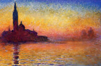 Oil painting Claude Monet - San Giorgio Maggiore by Twilight great sunset view
