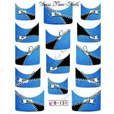Nail Water Decal - French Tip Blue/Black ZIPS Transfers Sticker  - B-131 - UK