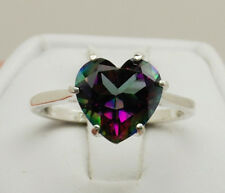 Mystic Quartz 3.11 ct - 10mm Heart Ring Size 7 - Sterling Silver