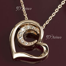 9K GF 9CT ROSE GOLD MADE WITH SWAROVSKI CRYSTAL HEART MOON PENDANT NECKLACE