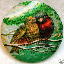 Bracken Birds  Fabric Covered Button 1 & 1/2 inch