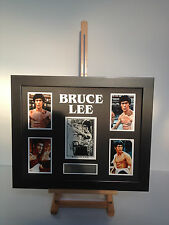 PROFESSIONALLY FRAMED, SIGNED BRUCE LEE PHOTO COLLAGE WITH PLAQUE.
