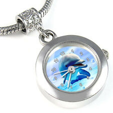 Dolphin Silver European Spacer Charm Bead Watch For Bracelet Necklace EBA189