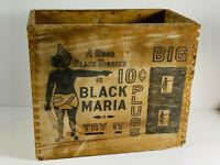 Antique Black Maria Big Chewing Plug Tobacco Dovetail Advertising Shipping Box