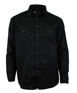 WESTERN-SPEICHER Freizeit Jeans Hemd  schwarz Druckknöpfe in Hemdfarbe S-4XL