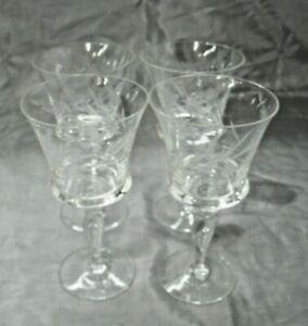 "Blefeld BFC 2 4-5 7/8"" Wine Glasses Cut to Gray Flowers Crystal Stemware Pretty"