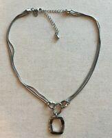 "Lia Sophia Necklace Pendant Triple Snake-Chain Strands Silver-Tone Geo 16-18"""