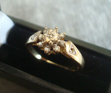 LADIES 9CT .375 YELLOW GOLD DIAMOND RING 2.3g SIZE L BOXED