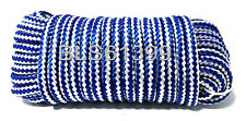 "(1) White/Blue Braided Poly 3/8"" in x 50' ft Boat Marine Utility Line Rope Cord"
