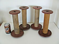 "Vintage 4 Antique Wooden 10.5"" Tall Thread Bobbin Mill Textile Spools Farm House"