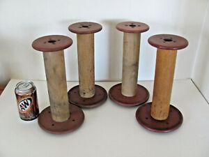 "Vintage 4 Antique Wooden 10.5"" Tall Thread Bobbin Mill Textile Spools Farm House"