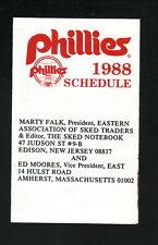Philadelphia Phillies--1988 Pocket Schedule--EAST