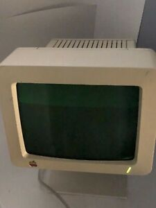 VINTAGE APPLE COMPUTER MONITOR Mdl# G090H w/Stand Jun1984 POWERS ON*REPAIR*B4100