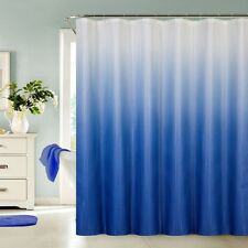 13 Piece Waffle Fabric Ombre Shower Curtain Made With 100% Polyester (Blue)