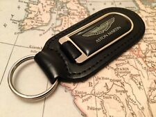 ASTON MARTIN BLACK  PRINTED Quality Black Real Leather Keyring DB 7 8 9 11