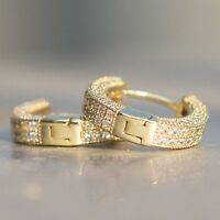 Mens Fully Ice Out Small 14K Gold 925 Sterling Silver Lab Diamond Hoop Earrings