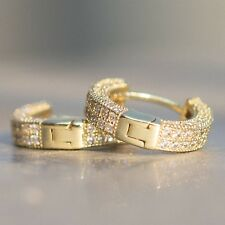 Mens Fully Ice Out 14K Gold  Sterling Silver Lab Simulated Diamond Hoop Earrings