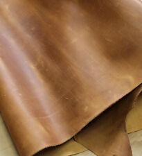 Dickleder Zuschnitt 24x32cm, Rindleder, Fettleder braun cognac beige, Antikleder