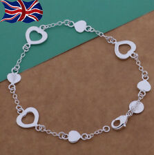 "925 Sterling Silver plated Bracelet Heart Chain Link Charm 7.75""  UK"