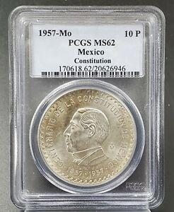 1957 MEXICO SILVER 10 PESOS CONSTITUTION CENTENNIAL JUAREZ PCGS MS62 ONLY62?!