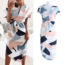 Geometric Print Color Block Beach Pencil Dress Short Sleeve Midi Party w/Belt