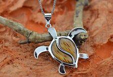 "Koa Wood Turtle Pendant W/18""Chain -Sterling Silver-Sea Turtle Necklace,Honu,New"