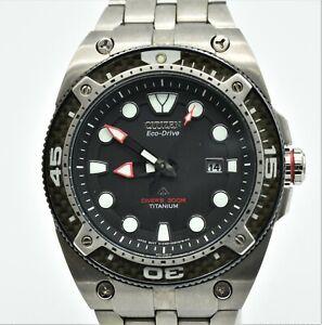 Citizen Eco-Drive Promaster Carbon Divers 300m Titanium E168 Mens Watch
