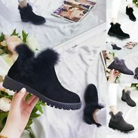 Ladies Womens Studded Low Block Heel Chelsea Fur Lined Ankle Boots Shoes Size