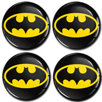 4 x50mm Autocollant 3D Cache-Moyeux Enjoliveurs Centre De Roue Batman Logo Jaune