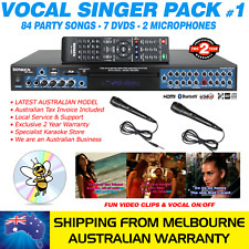 VOCAL SINGER MP4000 KARAOKE MACHINE 84 PARTY SONG PACK, 2 MICS, BLUETOOTH