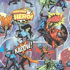 Muriva Super Hero Pattern Childrens Wallpaper Comic Book Motif Cartoon L31501