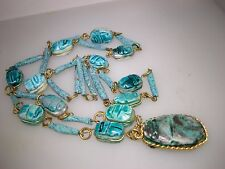 VINTAGE EGYPTIAN REVIVAL FAIENCE GLAZED POTTERY SCARAB NECKLACE! 32""