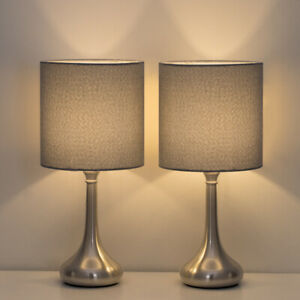 2 Sets/PCS HAITRAL Table Lamp Modern Desk Bedside Lights Fabric Shade Metal Base