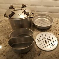 """Vintage """"The Waterless Cooker"""" Favorite Aluminum Cooking Pot with Inserts"""