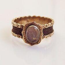 Fine Antique Victorian 18ct Gold Hairwork Glazed Mourning Ring c1860; Size 'L'