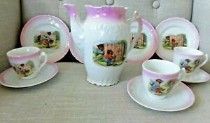 Vintage German? china TEA SET Teddy bear Storybook bears PINK borders incomplete