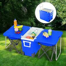 Rolling Cooler Table 2 Chairs Outdoor Picnic Beach Camping Party Color Blue