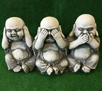 Three Wise Buddha's Hear Speak See No Evil Concrete Garden Ornament Weatherproof