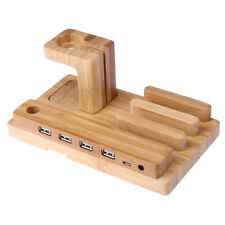 Bamboo Wood Charge Holder Docking Station Bracket For Apple Watch iPhone WT7n