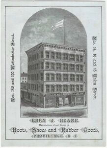 Boots & Shoes Fashion Providence Rhode Island Vintage Architectural Trade Card