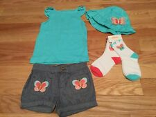 NWT Gymboree Girls Butterfly Catcher 5T Lot Top, Bubble Shorts, Hat, Socks