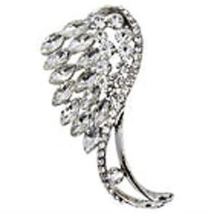 SILVER CRYSTAL GUARDIAN ANGEL WING MEMORY LOVE FEATHER GIFT BROOCH CHRISTMAS
